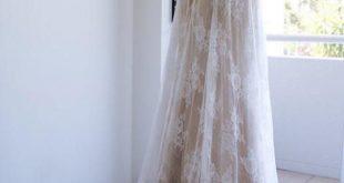 Hot Sale Luxurious Open Back Wedding Dress, Wedding Dress A-Line, Lace Wedding Dress, White Lace Wedding Dress