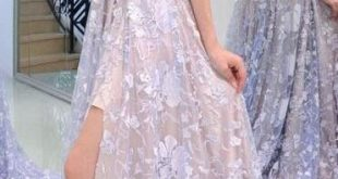 Princess Starpless Lavender Lace Long Prom Dress