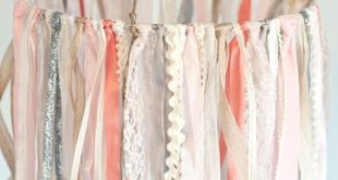 Ribbon Mobile, Baby Ribbon & Lace Mobile, pink and ivory baby mobile, baby girl mobile, hanging decor, crib mobile, nursery