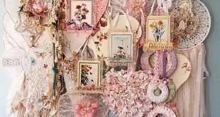 Shabby Chic Shelf and Hooks Overflowing with Flowers, hearts, wings, and birds. ...