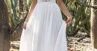 Spaghetti Hochzeitskleid Sweep Zug Spitze Brautkleid, einfache weiße Satin Brautkleid mit Applikationen Brautkleid