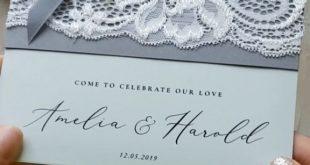 Vintage Lace Wedding Invitations Elegant Grey Ivory ribbon and Bow 06/LACEA/Z