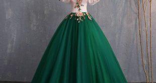 Vintage / Retro Dark Green Prom Dresses 2019 Ball Gown Appliques Lace Off-The-Shoulder Short Sleeve Backless Floor-Length / Long Formal Dresses - Veaul