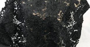 Vintage black lace with ribbon , black lace fabric 1 yard -24 inches