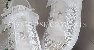 Wedding / Bridal Mono white Custom Crystal *Bling* Converse Sizes 3-8