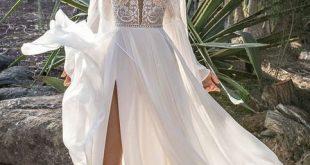 lange Ärmel Hochzeitskleid Sweep Zug Spitze Brautkleid, einfache weiße Satin Brautkleid mit Applikationen Brautkleid
