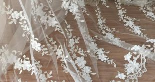 1.5 yards 3D Haute Couture Lace Fabric in Ivory for Wedding Gown, Bridal Bolero ...