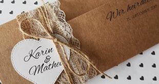 10x VINTAGE Einladung zur Hochzeit Hochzeitseinladungen Kraftpapier spitze rustikal Druck und Umschlag