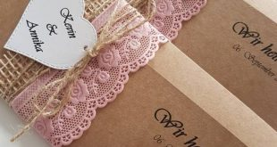 10x Vintage invitation to wedding invitations kraft paper Lace old rose rustic print and envelope