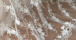 1,5 Meter 3D Haute Couture Lace Fabric in Ivory für Hochzeits-Gown, Braut Bolero Robe