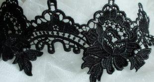 black venice Lace Trim, vintage floral Lace Trimming Fabric, black lace trimming
