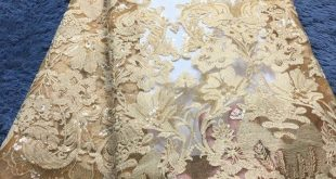 2019 Latest French Net Lace Fabric african guipure lace fabric with embroidery mesh gold tulle cord