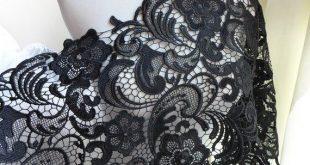 """12"""" Venice lace trim elegant black lace fabric for dresses, DIY wedding gown, garments"""