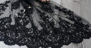 Black lace fabric with abstract design, fashion lace fabric, embroidered lace fabric for evening dress, wedding dress lace - (WL 0117.3)