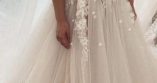 [248.50] Verführerische Tüll Juwel Ausschnitt A-Linie Brautkleider mit Spitzenapplikationen & 3D Blumen & Perlen