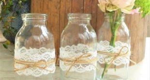 6 Blumenvasen, Mini Vasen, Tischdekoration, Hochzeitsdeko, Vasen mit Spitze, Vintage