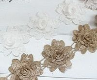 9PCS Flowers White Gold Lace Trim Ribbon Water Soluble Embroidered Lace Fabric S...