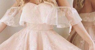 A-Line Homecoming Kleid, Spitze Abendkleid 2017, Schulterfrei Kurze Abendkleider