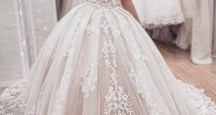Ballkleid aus der Schulter Brautkleid mit Spitzenapplikationen, wunderschöne Brautkleid