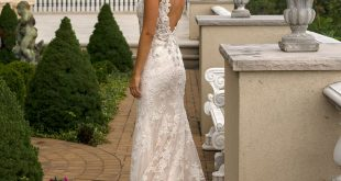 Beaded V-neck Fit And Flare Wedding Dress