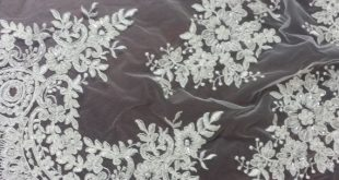 Beaded ivory lace fabric Sequin lace French lace by LaceToLove