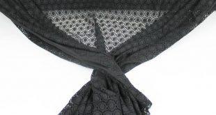 Black Fiona Pattern Circle Pendants Open Knit Lace Fabric
