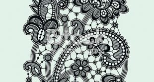 Black Lace. Vertical Seamless Pattern.