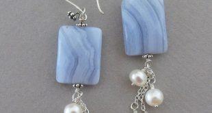 Blaue Spitze Achat und Perlenohrringe   - Schmuck selber machen DIY - #Achat #bl...