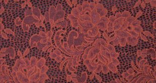 Brick Pale Floral Pattern on Scalloped Edge Lace Fabric