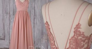 Bridesmaid Dress Blush Long Chiffon Boho Hochzeitskleid Spaghetti Strap Prom Dress Ruched V Neck Open Back A-line Party Dress (H549B)