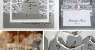 Classic grey and pink lace wedding invitations, escort cards and table number ta...