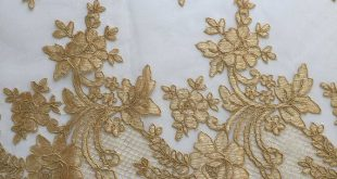 Diana GOLD Polyester Corded Floral Embroidery on Mesh Lace Fabric by the Yard - 10064
