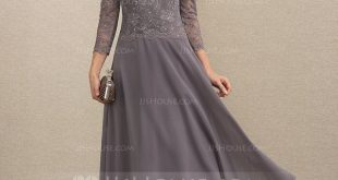 [€ 131.00] A-Linie U-Ausschnitt Wadenlang Chiffon Spitze Kleid für die Brautmutter mit Pailletten - JJ's House