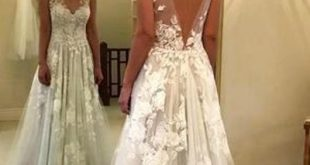 Fabulous Tulle A-line V-neck Floor Length Lace Wedding Dresses With Appliques, SW166
