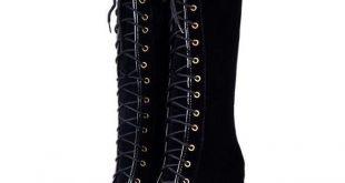 Fantastische Damen Goth Roman Super-Plattform Keilabsatz Schnüren kniehohe Stiefel