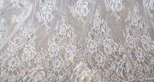 "Graceful Lace Fabric Ivory Eyelash Floral Wedding Fabric Bridal Fabric Scalloped Lace 59"" width 1 yard"