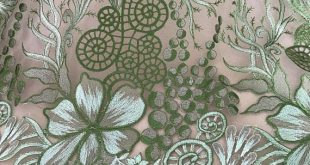 Green Gold Lace, Floral Embroidered Bridal Gown Lace Fabric, Dress Lace By the yard