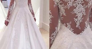 Hocogril.comV-neck A-line Lace Appliqued Satin White Wedding…