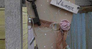 Holzherz-Willkommen-shabby-vintage-Spitzenband-antiker Schlüssel-creme-rosa-wei...