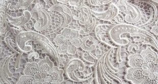 Ivory Lace Fabric Embroidered Flowers Hollowed Floral Wedding Bridal Lace Fabric...