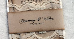 Ivory Lace Rustic Wedding Invitations, Aged Wedding Invitations, Wedding Invitation Set, Burlap and Lace Wedding Invitations, Invitation Set