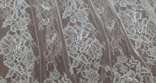 Ivory lace fabric from France. Chantilly lace fabric sold by the yard. White eyelash bridal veil lace. Scalloped wedding dress lace. EVS021C