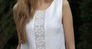 Linen tank is just the perfect look for summer! Natural linen top/blouse with de...