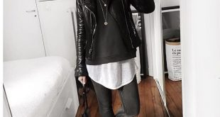 Longbluse, Sweatshirt und Lederjacke