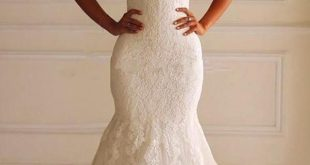 Meerjungfrau aus der Schulter Lace Brautkleid mit Hofzug TN0060