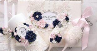 Navy Blue Unity Candle Set Wedding Candles set Persinalized Lace Navy Blue and Blush Pink Wedding Decor Elegant Custom Colors Free Monogram