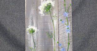 Palette-Wand-Kunst, wilde Blumen grün, Bauernhaus Dekor, grau im Alter von Holz, von Hand bemalt Blumen, Königin Ann Spitze, rustikale schäbig, zurückgefordert