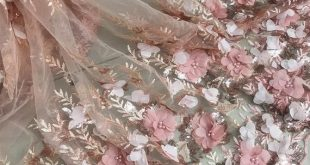 Peach Pink Beaded 3D Rose Flower Lace fabric Embroidered Fabric For Costume Dress Appliques Bridal Dress Supplies By The Yard