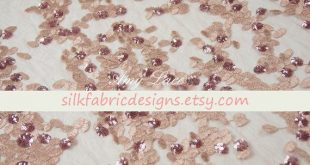 Pink and Gold Mesh Lace Fabric With 3D Sequin Floral Embroidery Lace Fabric Width 51 inch