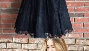 Pretty V Neck Sleeveless Black Lace A Line Short Homecoming Dress, BTW210 Pretty V Neck Sleeveless Black Lace A Line Short Homecoming Dress, BTW210